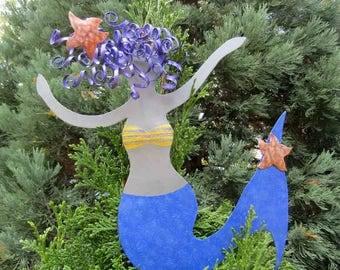 Mermaid Christmas Tree Topper Recycled Metal Tree Ornament Sculpture Cobalt Blue Beach House Coastal Decor Tree Topper Red Head