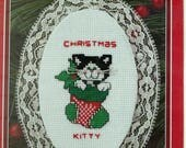 Cat in a Stocking  Christmas Lace Ornament, No 351279 Retired
