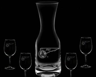 32 Ounce Pan American Airways Wine Carafe & 4 Glass Set