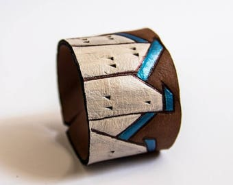 40% OFF SALE Leather houses wide black cuff bracelet Jewelry Wristband Casual Colorful houses