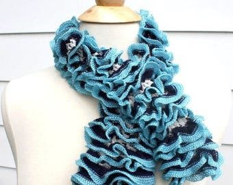 knit ruffle scarf, blue ruffle scarf, knit fashion scarf, blue fashion scarf, blue neck scarf,knit neck scarf,sky blue scarf,navy blue scarf