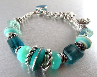 25 OFF Gemstone and Lampwork Chunky Sterling Silver Bracelet - Day At The Beach