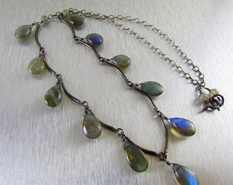 25 OFF Labradorite and Oxidized Sterling Necklace