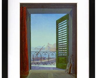 Balcony Room with View of the Bay of Naples , Carl Gustav Carus, ca 1829 - Beach house decor ~ Cottage decor ~ Seaside resort art ~ Wall art