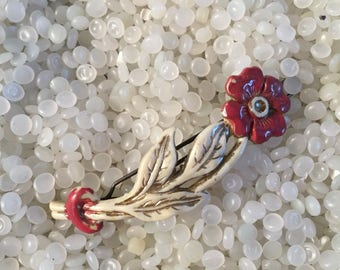 Vintage  barrette , red and white barrette ,  red flower