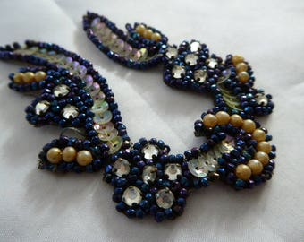 Vintage Black Iridescent Rhinestone Scalloped Beaded Appliqué / Embellishment / 1930s At Deco / Trim / Finding / Formal / Posh