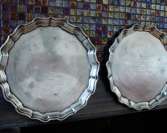 1947 Texaco  pair of  Old VINTAGE BEAUTIFUL Shape Heavy Canada made  Copper  Silver Plated SERVING Platter