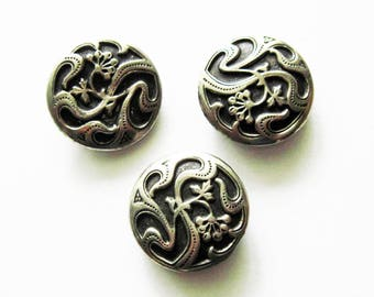 Vintage Silver Metal   Flower Buttons