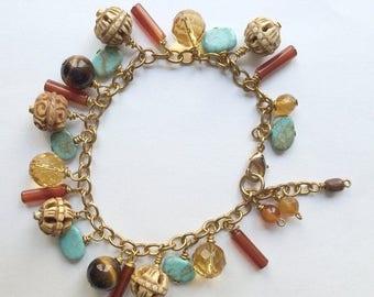 30% SALE Dangle Bracelet, Turquoise, Tiger Eye Citrine Carnelian, Carved Bone, Boho Chic Colorful Gemstone Earth Tone Fall Fashion Haute Hip