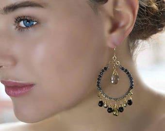 FLASH SALE Luxury Gemstone Hoop Earring Black Gold Bohemian Hoop Earring Oxidized Silver Wire Wrap Statement Chandelier  Black Spinel Boho