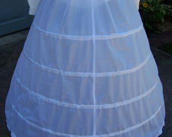 "Petticoat 5 Bone Hoop, WHITE Nylon, ajustable 110"" to 127"" circle x 37"" long Steel Boning Draw String waist 12"" to 50"""