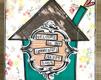 Generally Happy home mixed media collage art by Things With Wing
