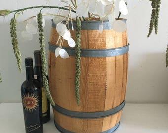 vintage nail keg barrel wooden cottage farmhouse umbrella stand storage primitive 1940's