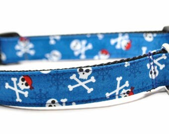 Blue Pirate Skulls Dog Collar / Skull and Bones / Buckle or Martingale / Nautical Dog Collar