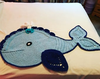 Joych the whale crochet rug
