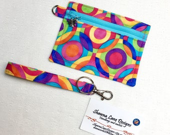 coin purse, zipper pouch, colorful keychain with wristlet strap, debit card keeper, money pouch, lip balm holder, affordable gift all ages