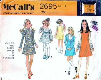 Vintage Sewing Pattern 1970s Girls Dress Hipsterkid Size 6 Childs Dress Long Gathered Puff Sleeves 5 Styles 70s Fashion DIY Simplicity 7519