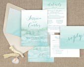 beach wedding invitations, destination wedding invitations, watercolor invitations, aqua wedding, tropical wedding, printed invitations