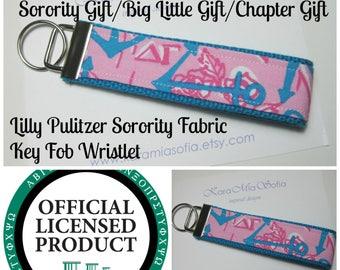 Lilly Pulitzer Sorority Fabric / Delta Gamma/ Key Fob Wristlet / Preppy/ Big Little Gift / Stocking Stuffer/Chapter Gift