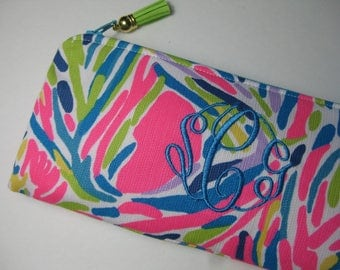 Lilly Pulitzer(Multi Palm Reader Pink)Pencil Case,Make Up Bag,Cosmetic Bag,Back to School,Preppy, Stocking Stuffer,Bridesmaid Gift