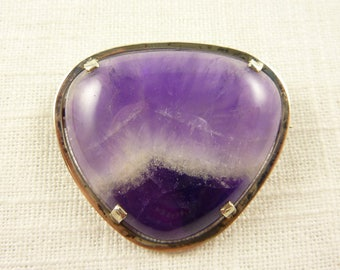 Vintage Handmade Sterling and Huge Chevron Amethyst Brooch