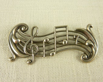 Vintage Beau Sterling Musical Notation Brooch