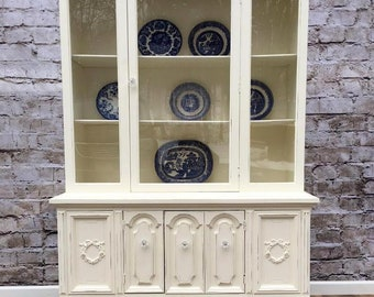 China Closet Chic Cottage Shabby, Painted, French Cottage Decor, Romantic Decor,French Provincial, Rose Appliques, White
