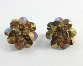 Vendome Earrings Gold AB Rhinestones Aurora Borealis Adjustable Clip Ons 9216