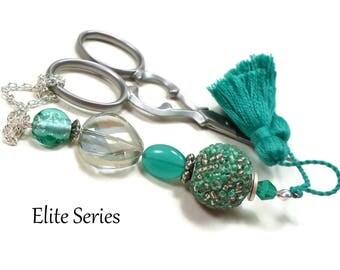 Turquoise Scissor Fob, Scissor Keeper, Sparkly Scissor Minder, Smoke Gray, Quilting Accessory, Cross Stitch, Needlepoint,Sewing, Tassel