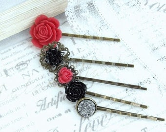 Red And Black Hair Pins Flower Hair Pin Set Red And Black Wedding Red Flower Hair Pins Bobby Pin Set