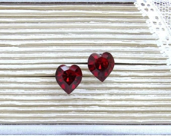 Red Heart Earrings Crystal Heart Studs Large Heart Studs Heart Stud Earrings Surgical Steel Studs Heart Jewelry