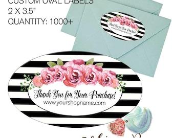 Custom Oval Labels, Custom Printed labels, Black Stripe Labels