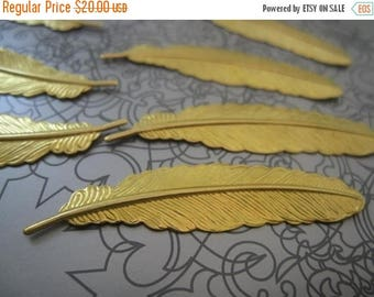 SUMMER CLEARANCE Solid Raw Brass Feathers - 52mmx12mm - 40 pcs