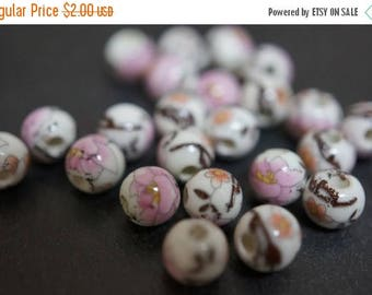 SUMMER CLEARANCE Japanese White Round Porcelain Beads with Classic Pink Peony Flowers Beads - 6mm - 6 pcs