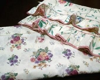 Remix Queen Sheets / Queen Flat Sheet / Pair of Pillowcases / Remix Queen Set / Floral Queen Set / Retro Queen Set / Vintage Bed Sheets