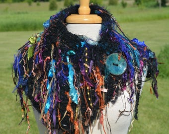 Hand Knit Cowl, Shag Fringe Artistic Neck warmer, Offset Knit Collar, Colorful scarf, Knit Fringed Cowl, hand dyed satin, black teal purple