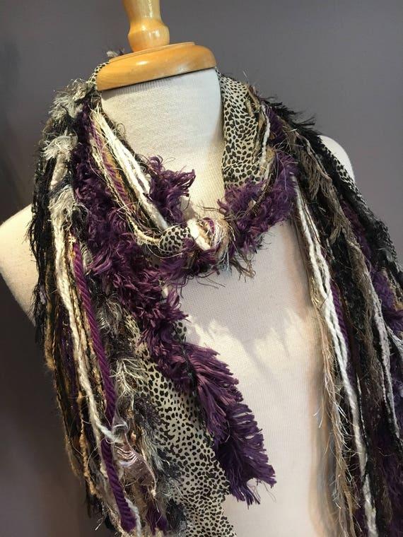 Fringie in Lavendar Leopard - All Fringe Scarf - Multitextural cream tan lavendar grey, art scarf, handmade, boho scarves, snow leopard