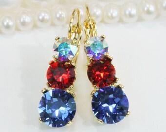 4th of July Earrings Patriotic Blue Red White Swarovski Crystal Drop Earrings Set,Jayhawks Rangers american Flag Bridesmaids Gift,Gold,GE45