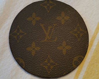 Recycled Louis Vuitton round leather coaster - single for the office - OOAK upcycled by Posh Rock Vintage