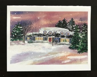 FREE SHIPPING, Christmas Card, Holiday , Home,Winter, Snowy, Glow, Warmth, Wreath, Evergreens, Fine Art Watercolor Print by Janet Dosenberry