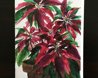Fine Art Watercolor Poinsettia Painting Made into Christmas, Holiday Card, with Verse and Writing Surface for Message by Janet Dosenberry