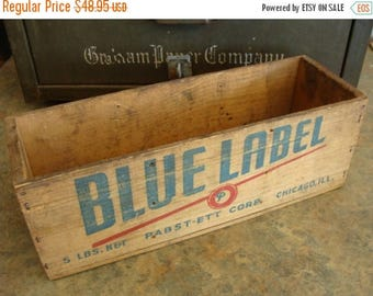 ON SALE Old Empty Antique Blue Label Wooden Farmhouse Cheese Box with Wonderful Graphics