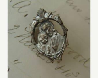 ONSALE Antique Art Nouveau Religious Silver Brooch/Pin
