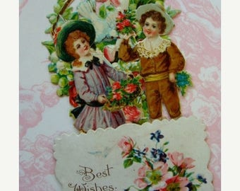 ONSALE Antique German Die Cut Valentine 1900s Pop Up Victorian Pink Roses Mechanical Stand Up Valentine