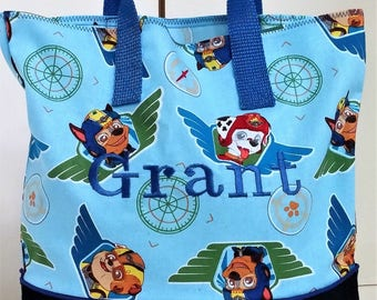 Paw Patrol 1st Tote Bag, Embroidered Tote Bag, School tote, Party gift bag, Overnight bag, book bag