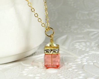 Peach Crystal Necklace, Light Coral, Tangerine Orange Swarovski Cube, Gold Filled, Bridesmaid Necklace, Spring Summer Wedding Jewelry Gift