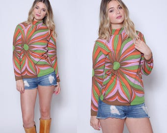 Vintage 60s OP ART Top PSYCHEDELIC Floral Print Blouse Mod Blouse Hippie Tunic