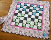 Afternoon Tea Party Checkers Game Quilted Table Runner | Alice in Wonderland Checkerboard Home Decor | Checkers Quilt Gift for Tea Lovers
