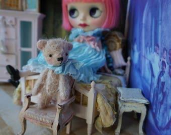 "Miniature 3"" Bear - Artist Teddy Bear Pink German Mohair Stuffie Collectible for Blythe Doll"