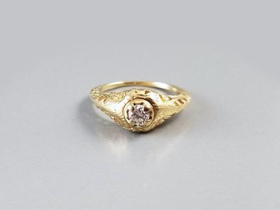 Vintage Art Deco 14k gold .15 carat diamond solitaire filigree engagement ring, size 5